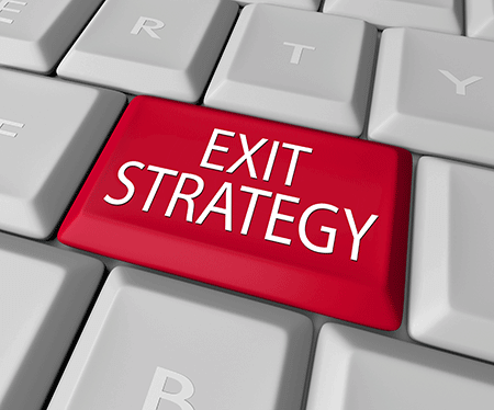 Keyboard with the words exit strategy