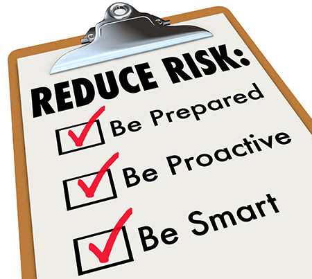 clip board with words reduce risk, be prepared, be proactive, be smart