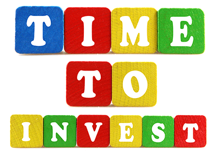 Blocks with the words time to invest
