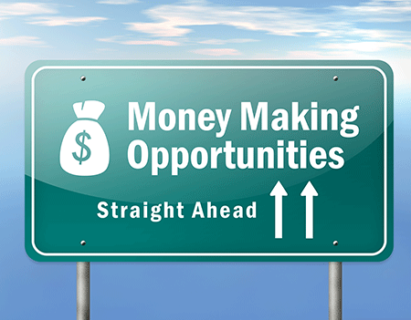 road sign with the words money making opportunities straight ahead
