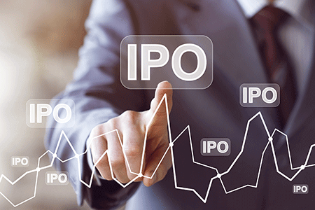 finger pointing at the stock chart witht the words IPO
