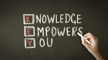 blackboard with the words knowledge empowers you