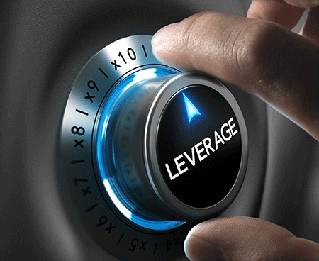 a dial with the words leverage