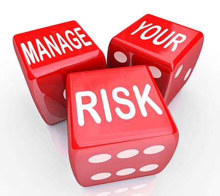 three dice with the words managing investment risk