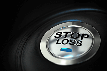 Button with the words stop loss